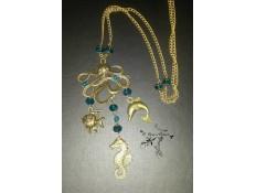 """Sautoir bronze et bleu """"Le Royaume de la Mer"""""""