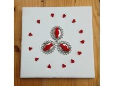 Tableau blanc et rouge Fleurs