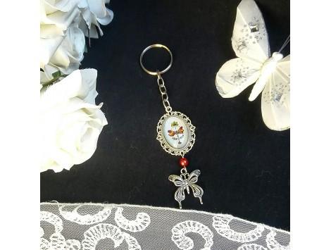 """Porte-clés """"Une Lady et ses papillons"""""""