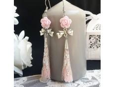 """Boucles d'oreilles """"Une rose et un pompon"""""""